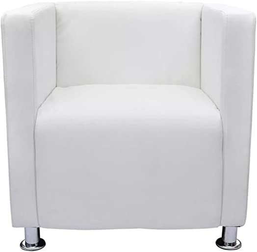 vidaXL Artificial Leather Armchair Tub Club Barrel Design Chair White Modern Room Seat
