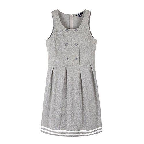(E-yes Clothing Big Girls' Pique Preppy Uniform-Polo Dresses Short Sleeve Knit Jumper (L, Grey))
