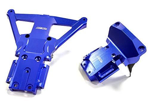 (Integy RC Model Hop-ups C25302BLUE Billet Machined Front & Rear Bulkhead for Traxxas Slash 4X4 LCG Chassis)