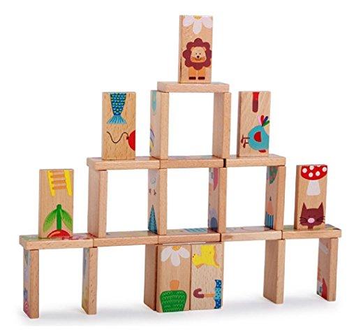 28個/セット動物Colored Dominoes木製パズル漫画モンテッソーリ教育ベビーおもちゃかわいい誕生日プレゼント面白い子供ゲーム