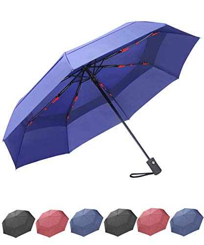 Nylon Windproof Umbrella (SY COMPACT Travel Umbrella Windproof Double Canopy Automatic Umbrellas (Blue))