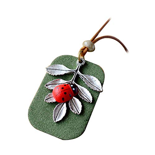 bjduck99 Women Fashion Forest Series Ladybug Leaves Tag Pendant Rope Necklace Jewelry