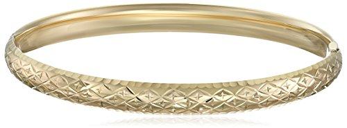 Gold Diamond Bangle Cut 14k (14k Yellow Gold Diamond-Cut Bangle Bracelet, 2.4