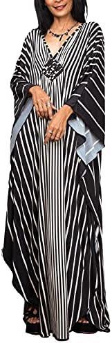 L-Peach Women Bohemian Kaftan Maxi Loungewear Nightgown Kimono Oversized Sleepwear Beach Dress Cover ups