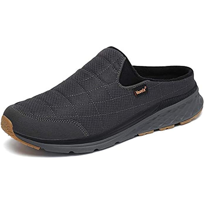 Voovix Men's Women's Slip-On Mule Sneaker Unisex Casual Slip-On Shoes Winter Quilted Lining Warm Slippers with Anti-Skid Sole for Indoor Outdoor