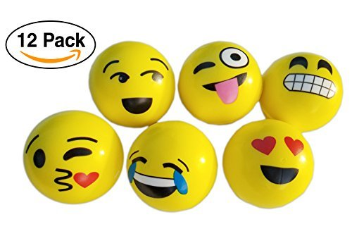 "Emoji Stress Squishy Massage Balls for Kids Party Favors / giveaways, 12-Pack – Large 3"" by GPC Inc"