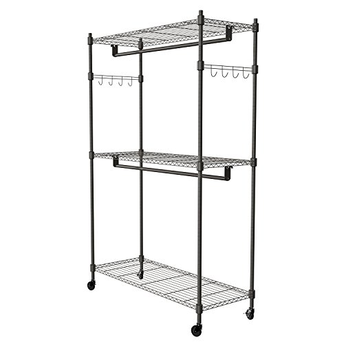 Commercial Grade Clothes Rack, 3-Tiers Heavy Duty Wire Shelv