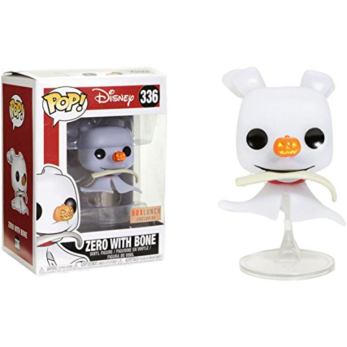 Funko Zero w/ Bone (Box Lunch Exclusive) POP! Disney x The Nightmare Before Christmas Vinyl Figure + 1 Classic Disney Trading Card Bundle (23352) -