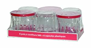Arc International Luminarc Working Glass, 16 3/4-Ounce with Red Lids, Set of 6
