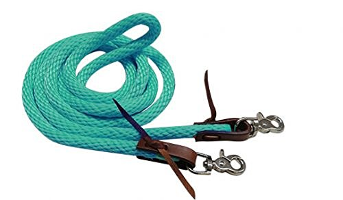 - Showman 8' Nylon Braided Colored Derby Barrel Racing Roping Reins (Teal)