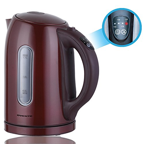 Ovente 1.7 Liter BPA Free Stainless Steel Cordless Tea Electric Kettle with Temperature Control and Keep Warm Function, Brown (KS89BR) (Electric Kettle Brown compare prices)