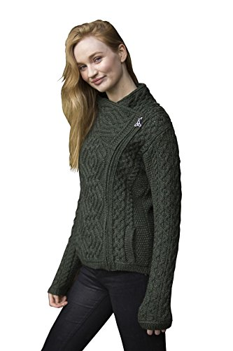 (Aran Crafts Small (S) Cable Knit Side Zip Cardigan Irish Parsnip Cable Knit Side Zip Cardigan (100% Merino Wool))