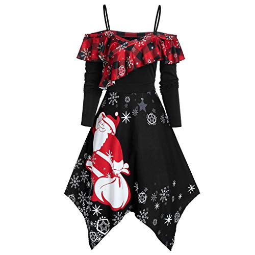 Kmart Halloween Decorations 2019 (iLOOSKR Merry Christmas Womne Plus Szie Santa Snowflake Printing Long Sleeve Pretty Party Dress)
