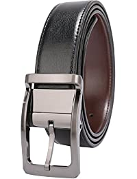 """Men's Dress Belt Leather Reversible 1.25"""" Wide Rotated Buckle Gift Box …"""