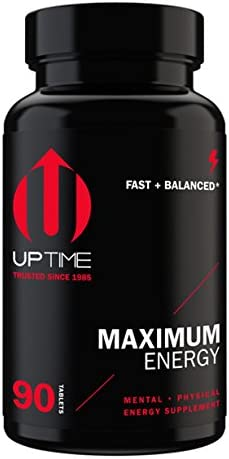 UPTIME-Maximum Energy Blend Tablets-Premium Caffeine Supplement – 90ct. Bottle – Zero Calories