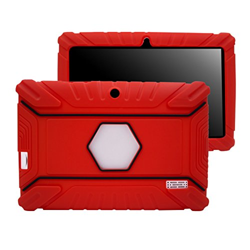 Transwon Anti Slip Kids Case for TOPELOTEK 7, Amiley 7, Alldaymall A88X, NeuTab N7 Pro, Tagital 7 T7X, Yuntab Q88, Yuntab 8GB Y88 7 Inch Tablet, Vuru A33, NPOLE N718, iRULU eXpro X3 Tablet-X37 - Red
