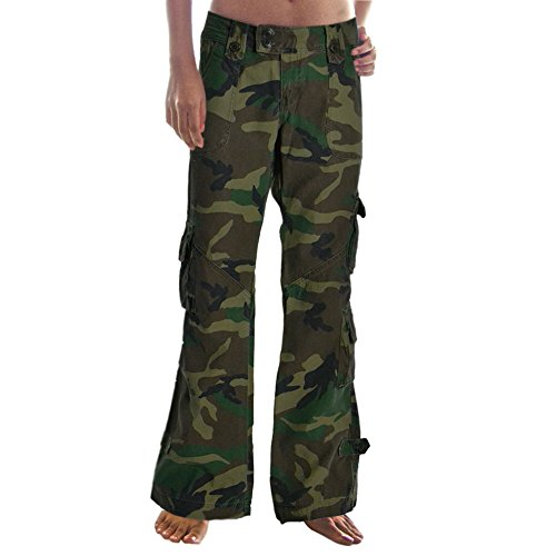 Molecule Women's Himalayan Hipsters Low Rise Flared Camouflage Cargo Pants | USA 0/XS (Tag S) Euro Woodland Camo ()