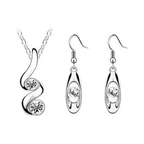 (Napoo Princess Bride Bridesmaid Romantic Wedding Creative Diamond Serpentine Necklace Earring Set (White))