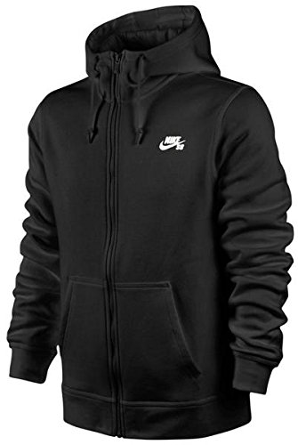 Nike Mens SB Icon Full Zip Sweatshirt Black/White 800149-...