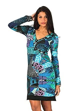 b2a550cefbaf9 citydress24 #666 Aller Simplement Damen Kleid Patchwork Etuikleid langarm  Longshirt Winter Tunika Schwarz Türkis (
