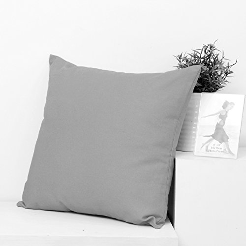 TAOSON Decorative 100% Cotton Canvas Square Solid Toss Pillowcase Cushion Cover Pillow Case with Hidden Zipper Closure Only Cover No Insert - Grey/Gray 18