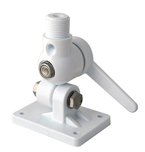 Mount for VHF and AM-FM marine antennas 4 way ratchet Scout PA3F with cable passage in center. White, UV protected reinforced nylon. SS main bolts/mounting bolts/washers/screws, and foam backing incl.