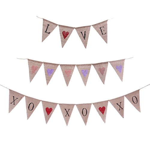Burlap Wedding Banner OULII 3pcs LOVE Hearts XOXOXO Engagement Party Banner Valentine Bunting Decoration Pennant Flags (Valentine Pennant)