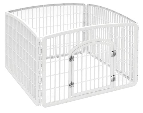 Indoor Dog Pens (IRIS 24'' 4-Panel Pet Playpen with Door)