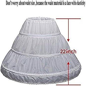 NANWUJI Girls 3 Hoops Petticoat Full Slip Flower Girl Crinoline Skirt White Underwear