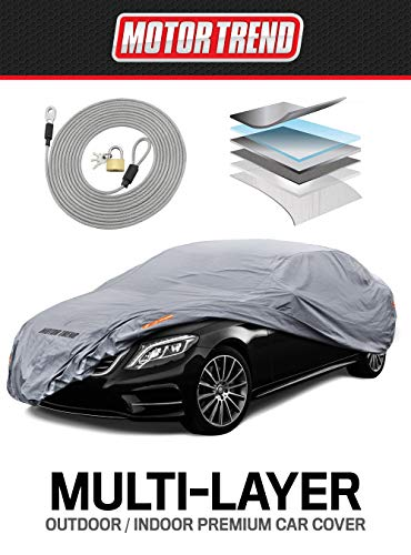 "Motor Trend M5-CC-4 XL Car Cover (7-Series Defender Pro-Waterproof for All Weather-Snow, Wind, Rain & Sun-Ultra Heavy Multiple Layers-Fits Up to 210"")"