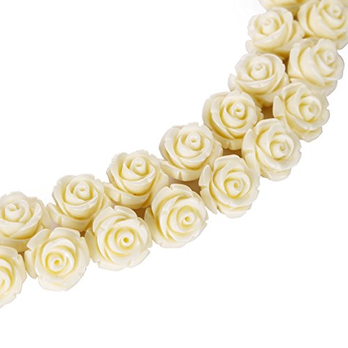 - BRCbeads Top Quality 8mm IVORY Synthetic Turquoise Carved Rose Howlite Coral Flower Carving Loose Beads 20 pcs per Bag For Jewelry Making