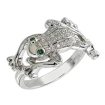 Womens 925 Sterling Silver CZ Emerald Eyes & Round Pave Frog 12mm Ring ()