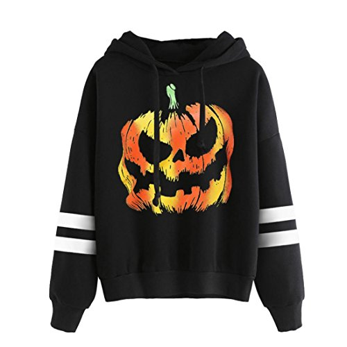XUANOU Womens Long Sleeve Simple Style Hoodie Sweatshirt Jumper Hooded Pullover (X-large, Halloween Black2) (Buy Goku Halloween Costume)