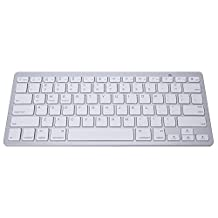 Ohmotor Lightweight Ultra Slim Wireless Bluetooth Keyboard for iPad / Windows / Laptop / Mac Book / itouch / iphone / Android 4.0 and More (Silver)
