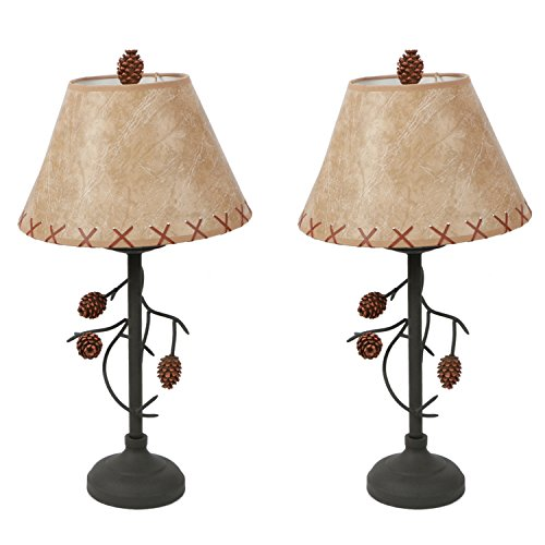 DEI Metal Pine Cone Branch Table Top Décor Faux Leather Shade Lamp, 22.5 Inches, Black