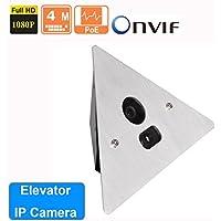 Owlguard 4MP 2.8MM Corner Mount Elevator IP Camera, ONVIF PoE or 12V DC