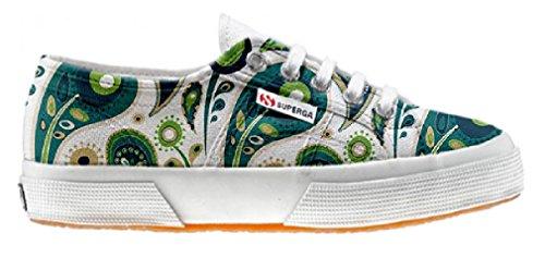 Superga Customized zapatos personalizados White Green Paisley (Producto Artesano)