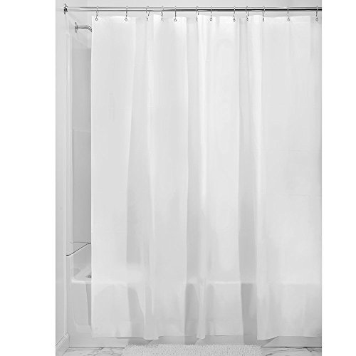 iDesign EVA Plastic Shower Curtain Liner, Mold and Mildew Resistant Plastic Shower Curtain for use Alone or With Fabric Curtain, 108 x 72 Inches, Frost