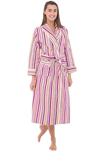 (Alexander Del Rossa Women's Lightweight Cotton Kimono Robe, Summer Bathrobe, Large Purple and Green Striped (A0515R52LG))
