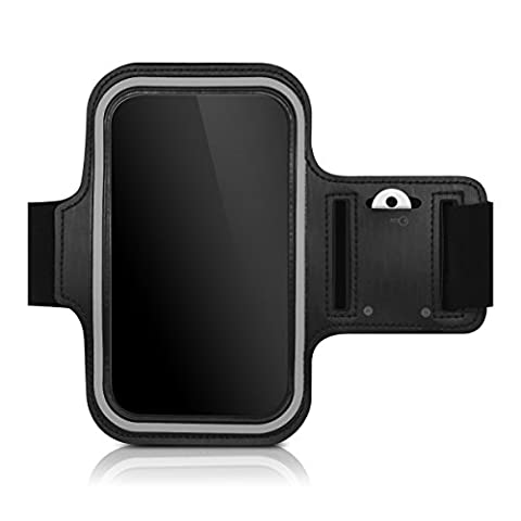 kwmobile sport armband for Smartphones jogging running sport bag fitness band with key compartment in the sport armband in black - e.g. compatible with Samsung, Apple, (Lg L9 Music Case)