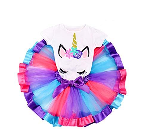 Toddler Baby Girl Rainbow Tutu Unicorn Costume Birthday Party Tulle Skirt Dress Outfit Set ()