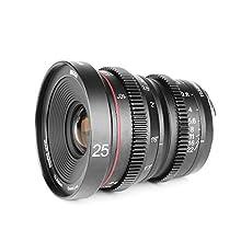 Meike 25mm T2.2 APS-C Large Aperture Manual Focus Prime Low Distortion Mini Cine Lens Compatible with Sony E Mount Cameras A7S A7SII A7R A7RII A7III A9 NEX 3 3N 5 5T 5R A6100 A6400 A6300 A6500