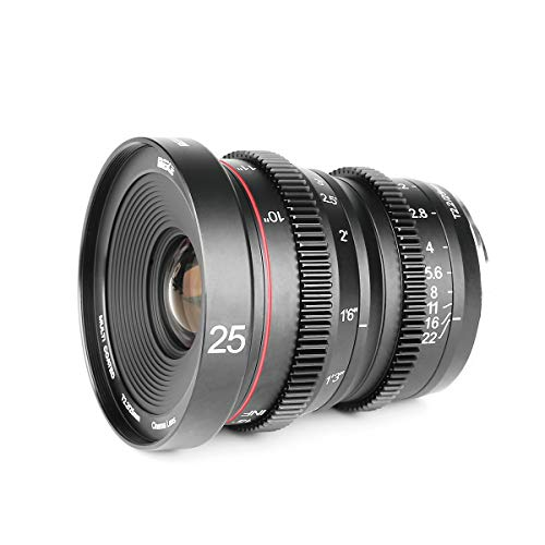 Meike 25mm T2.2 Large Aperture Manual Focus Prime Low Distortion Mini Cine Lens Compatible with Micro Four Thirds M43 MFT Cameras and BMPCC