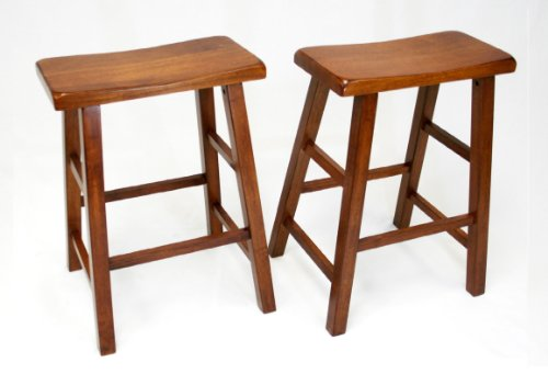 eHemco 24 Heavy Duty Saddle Seat Barstool in Dark Oak, Set of 2
