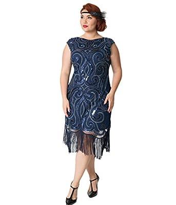 Unique Vintage Plus Size Navy Blue & Silver Swirl Iris Fringe Flapper Dress