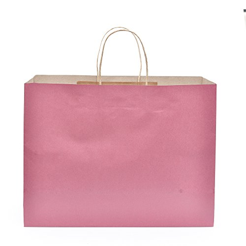 "Halulu 50 Pcs 16x6x12"" Kraft Pink Paper Handle Shopping Gift"