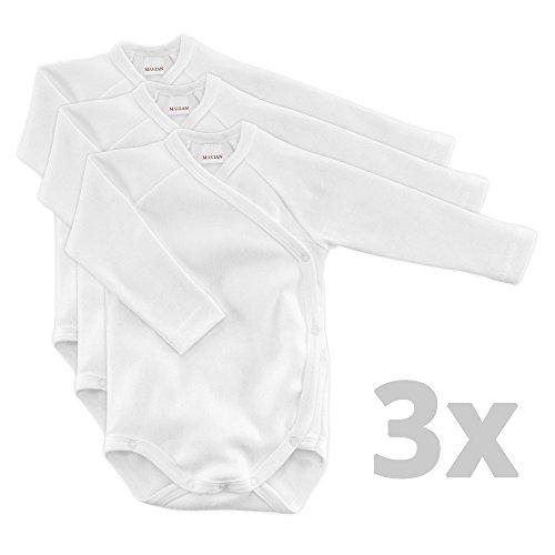 Baby Wickelbody Langarm Weiß - 3er Pack - 100% Baumwolle / Öko-Tex Standard 100 / Unisex (50/56)