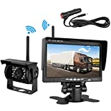 Emmako Backup Camera Wireless and 7'' Monitor Kit For RV/Truck/Trailer/SUV Guide Lines ON/Off IP68 Waterproof Night Vision Built-in Wireless Rear/Front View Camera Parking System Reversing/Driving Use