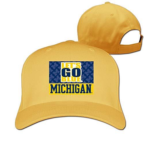 - Fa8Cai Cloth Unisex Adjustable Flat-Brim Dad Hat Baseball Caps - MI Michigan Let's Go Blue Skull Cap