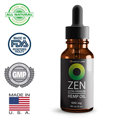 Hemp Oil Premium 500mg 60ml (2oz) | Natural Pain Reliever, Minimizes Epileptic Seizures, Cure for Anxiety, Prevents Social Recognition Deficit | Made in The USA